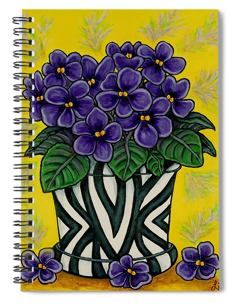 Violets Spiral Notebook featuring the painting African Queen by Lisa Lorenz