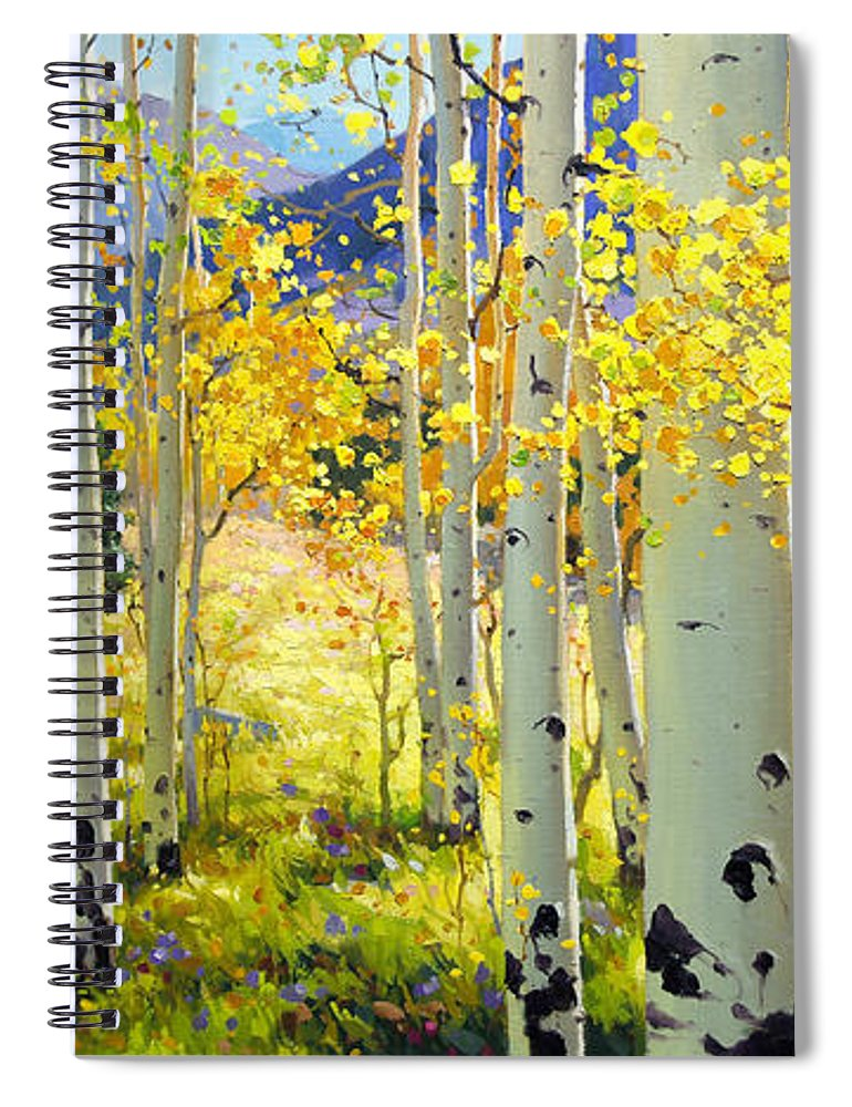 Aspen Oil Painting Birch Trees Gary Kim Oil Print Art Woods Fall Autumn Tree Panorama Sunset Beautiful Beauty Yellow Red Orange Fall Leaves Foliage Autumn Leaf Color Mountain Oil Painting Original Art Horizontal Landscape National Park America Morning Nature Wallpaper Outdoor Panoramic Peaceful Scenic Sky Sun Time Travel Vacation View Season Bright Autumn National Park Southwest Mountain Clouds Cloudy Landscape Afternoon Aspen Grove Natural Peak Painting Oil Original Vibrant Texture Reflections Spiral Notebook featuring the painting Afternoon Aspen Grove by Gary Kim