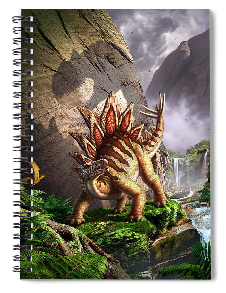 Stegosaurus Spiral Notebook featuring the digital art Against The Wall by Jerry LoFaro