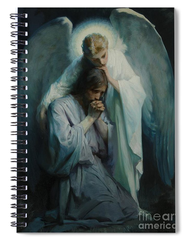 Frans Schwartz Spiral Notebook featuring the painting Agony In The Garden by Celestial Images