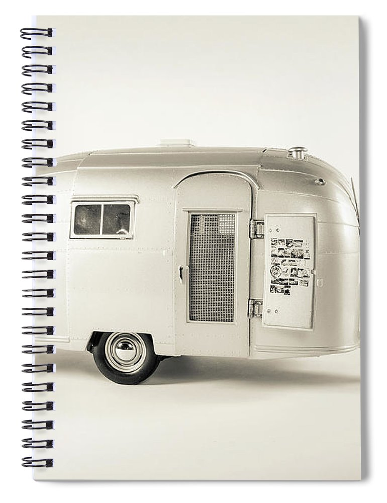 Camping Spiral Notebook featuring the photograph Airstream Bambi Camper by Edward Fielding