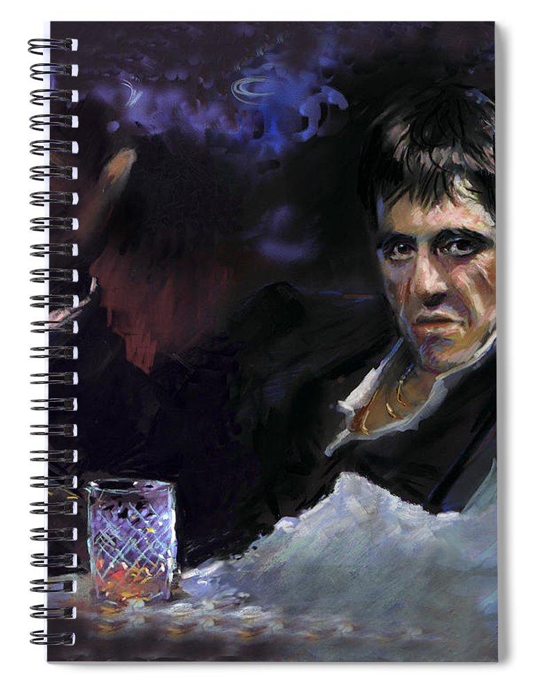 Al Pacino Spiral Notebook featuring the pastel AL Pacino snow by Ylli Haruni