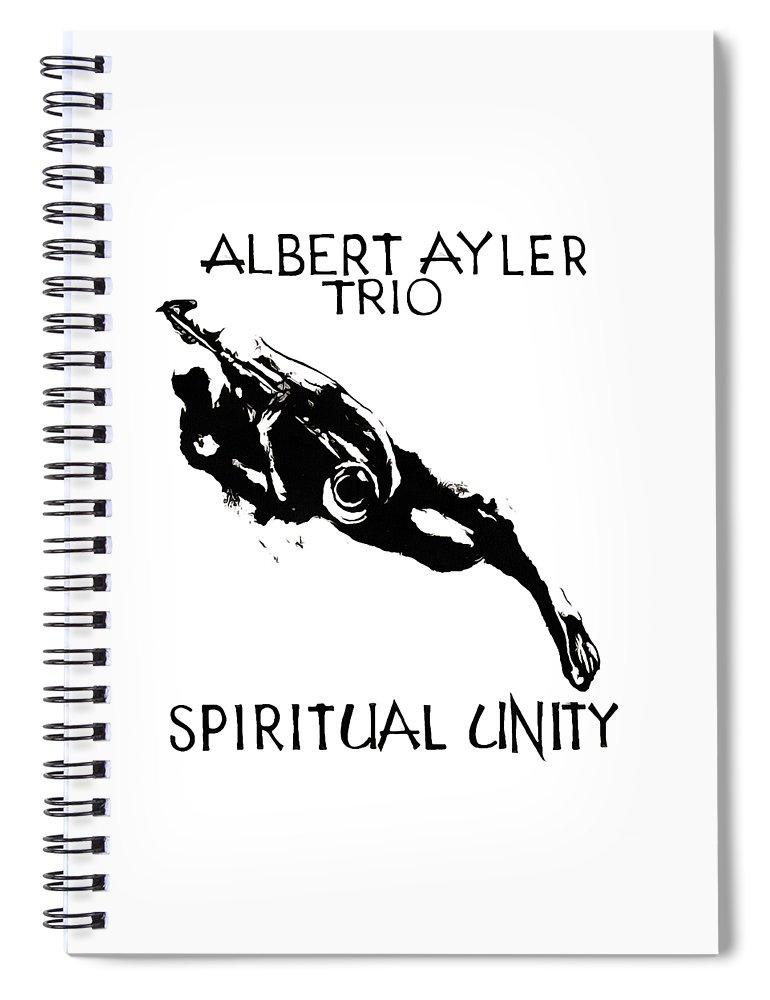 Albert Ayler Spiral Notebook featuring the drawing Albert Ayler Trio by Mike Ryne