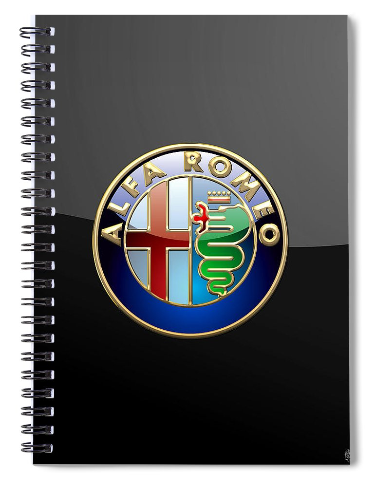 Wheels Of Fortune� Collection By Serge Averbukh Spiral Notebook featuring the photograph Alfa Romeo - 3 D Badge on Black by Serge Averbukh