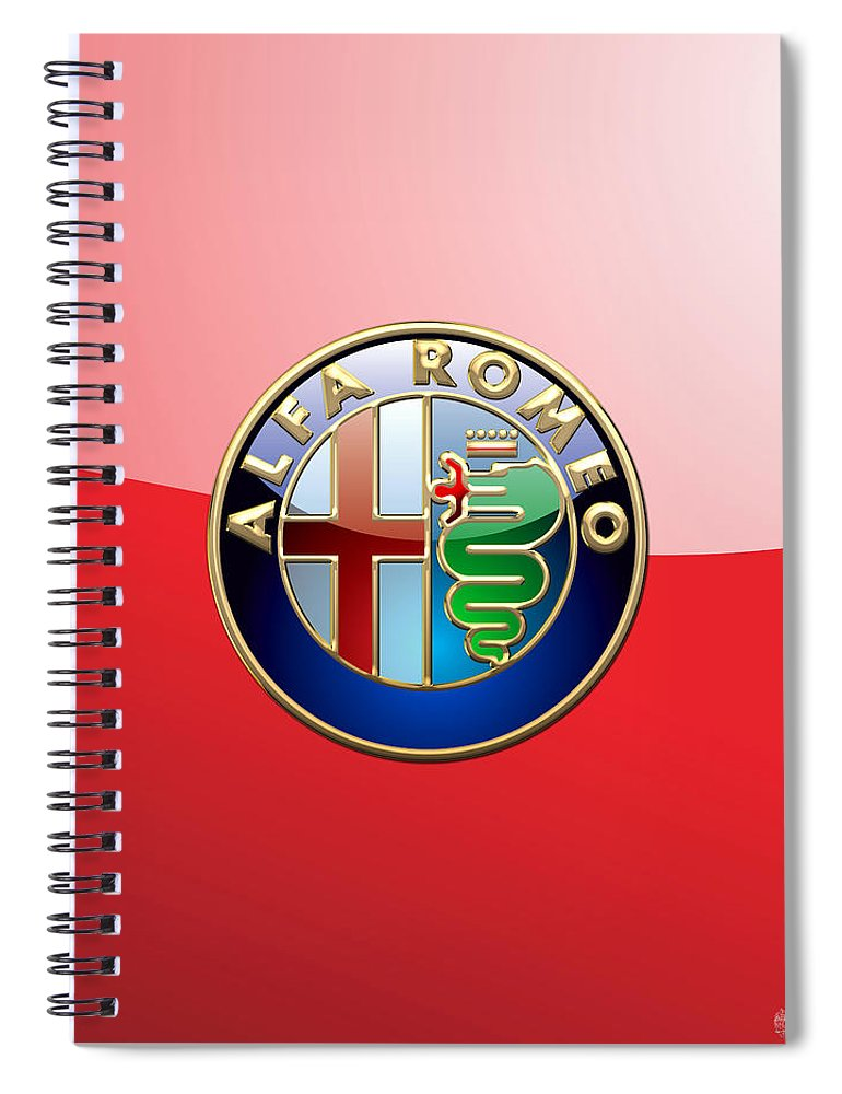 Wheels Of Fortune By Serge Averbukh Spiral Notebook featuring the photograph Alfa Romeo - 3d Badge on Red by Serge Averbukh
