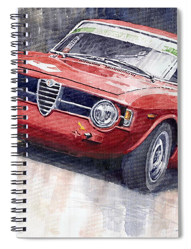 Watercolor Spiral Notebook featuring the painting Alfa Romeo Giulie Sprint Gt 1966 by Yuriy Shevchuk