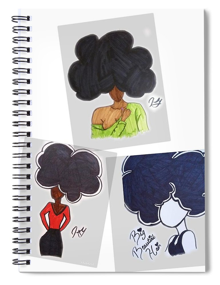 Black Girl Spiral Notebook featuring the drawing All In One by Artist Sha