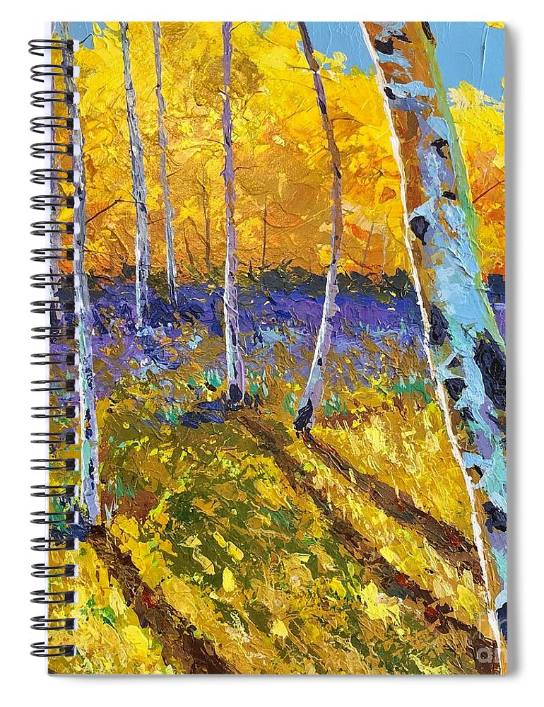 Aspen Spiral Notebook featuring the painting All In The Golden Afternoon by Hunter Jay