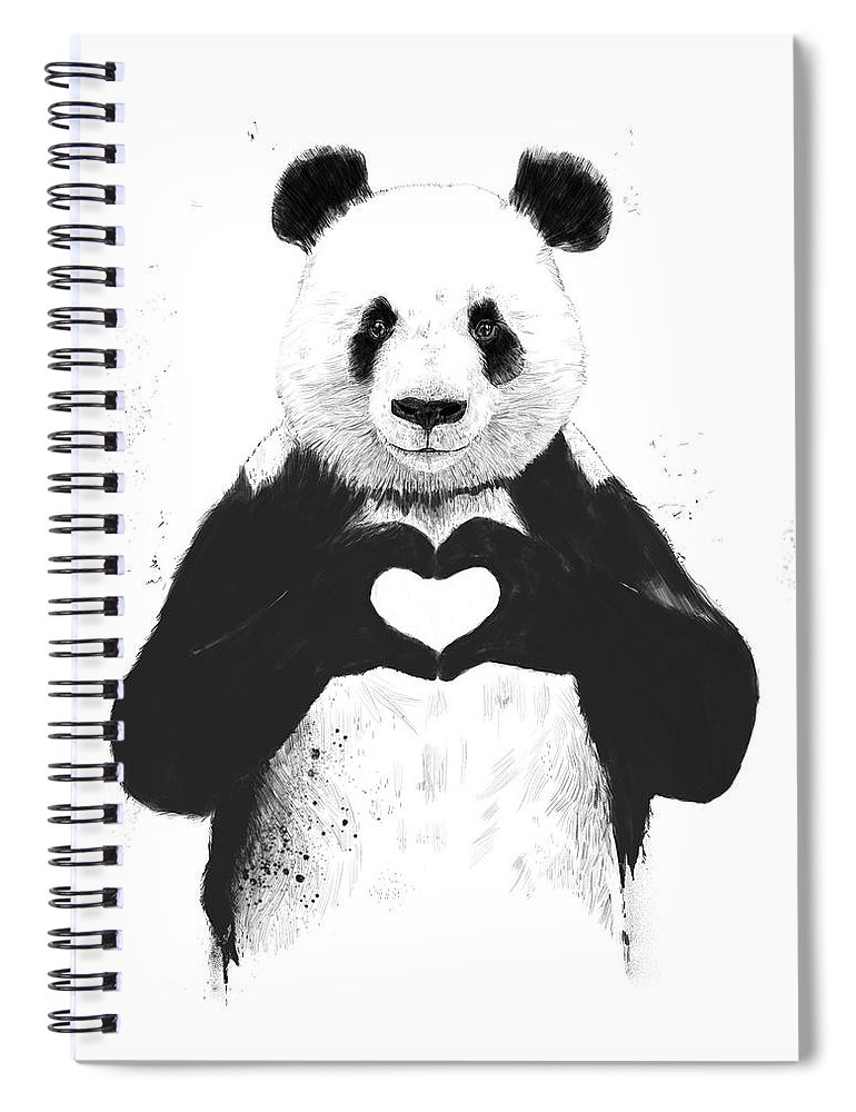 Panda Spiral Notebook featuring the mixed media All you need is love by Balazs Solti