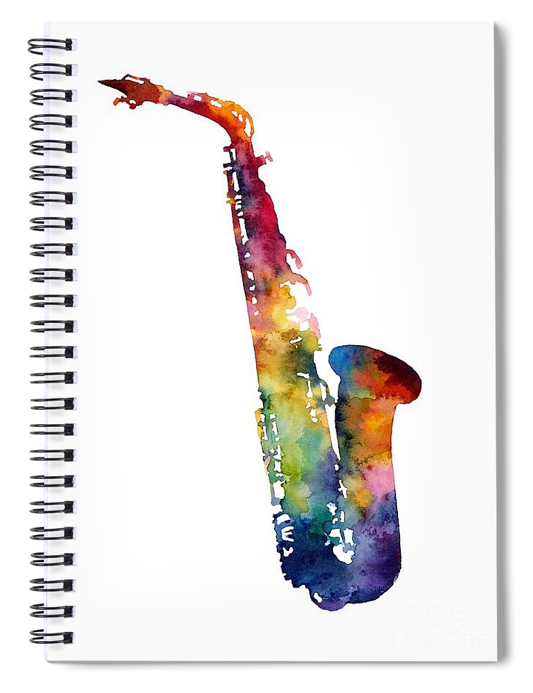 Alto Sax Spiral Notebook featuring the painting Alto Sax by Hailey E Herrera