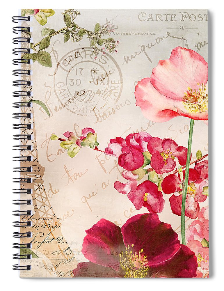 Paris Spiral Notebook featuring the painting Always Paris by Mindy Sommers
