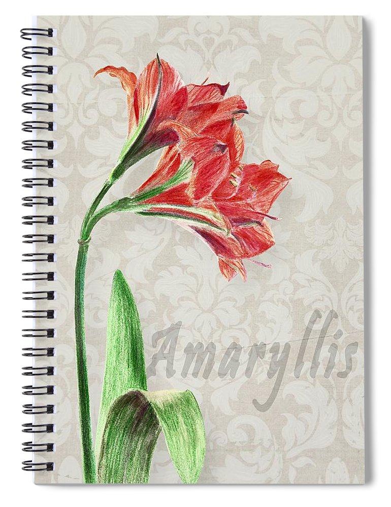 Amaryllis Spiral Notebook featuring the mixed media Amaryllis On The Ornament by Masha Batkova