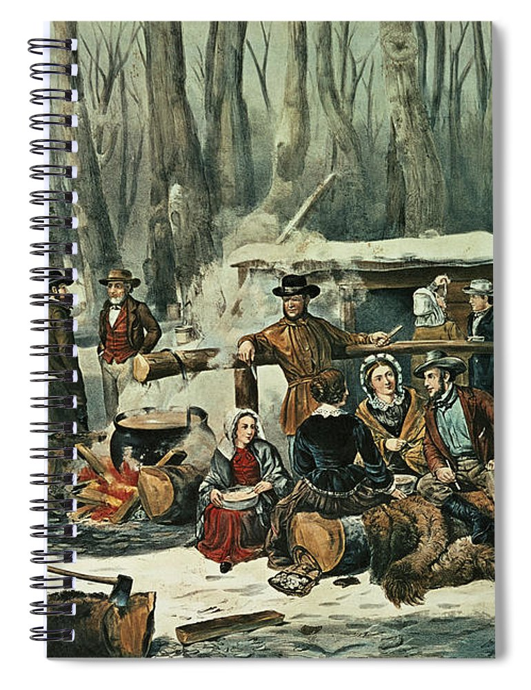 American Spiral Notebook featuring the painting American Forest Scene by Currier and Ives
