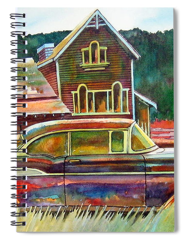 57 Chev Spiral Notebook featuring the painting American Heritage by Ron Morrison