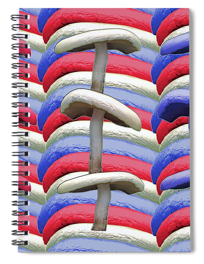 American Spiral Notebook featuring the photograph American Mushrooms by Rockin Docks Deluxephotos