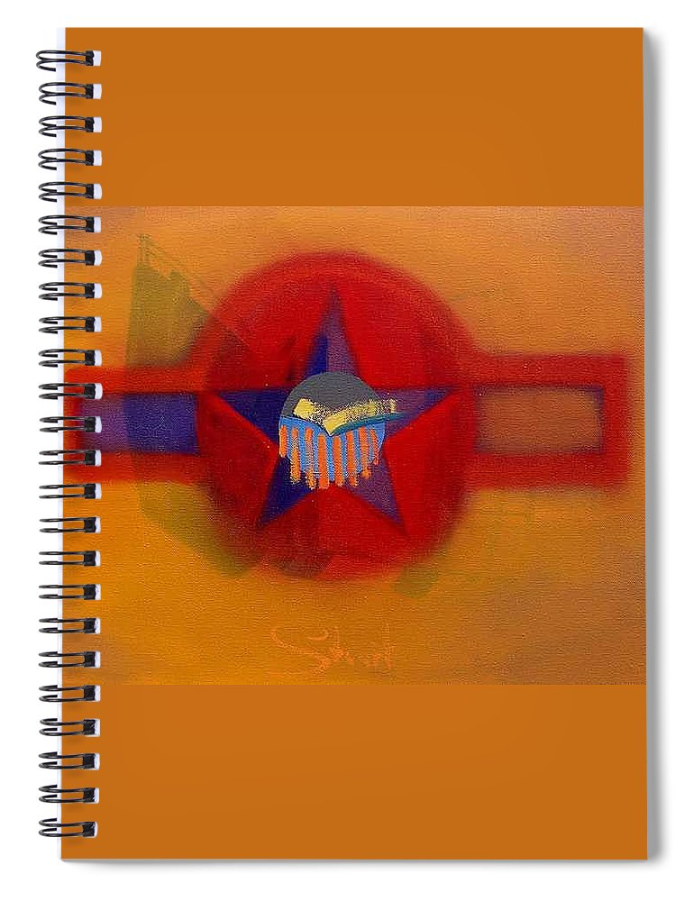 Usaaf Insignia And Idealised Landscape In Union Spiral Notebook featuring the painting American Sub Decal by Charles Stuart