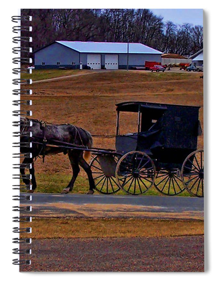Wisconsin Spiral Notebook featuring the photograph Amish Buggy by Tommy Anderson