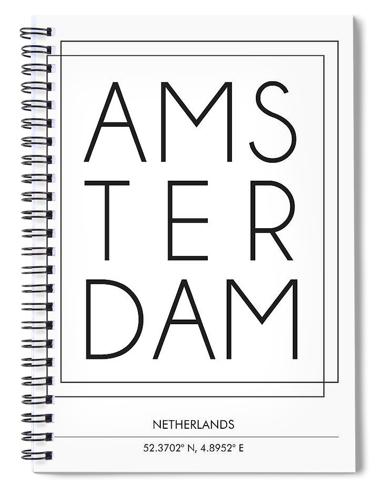 Amsterdam Spiral Notebook featuring the mixed media Amsterdam, Netherlands - City Name Typography - Minimalist City Posters by Studio Grafiikka