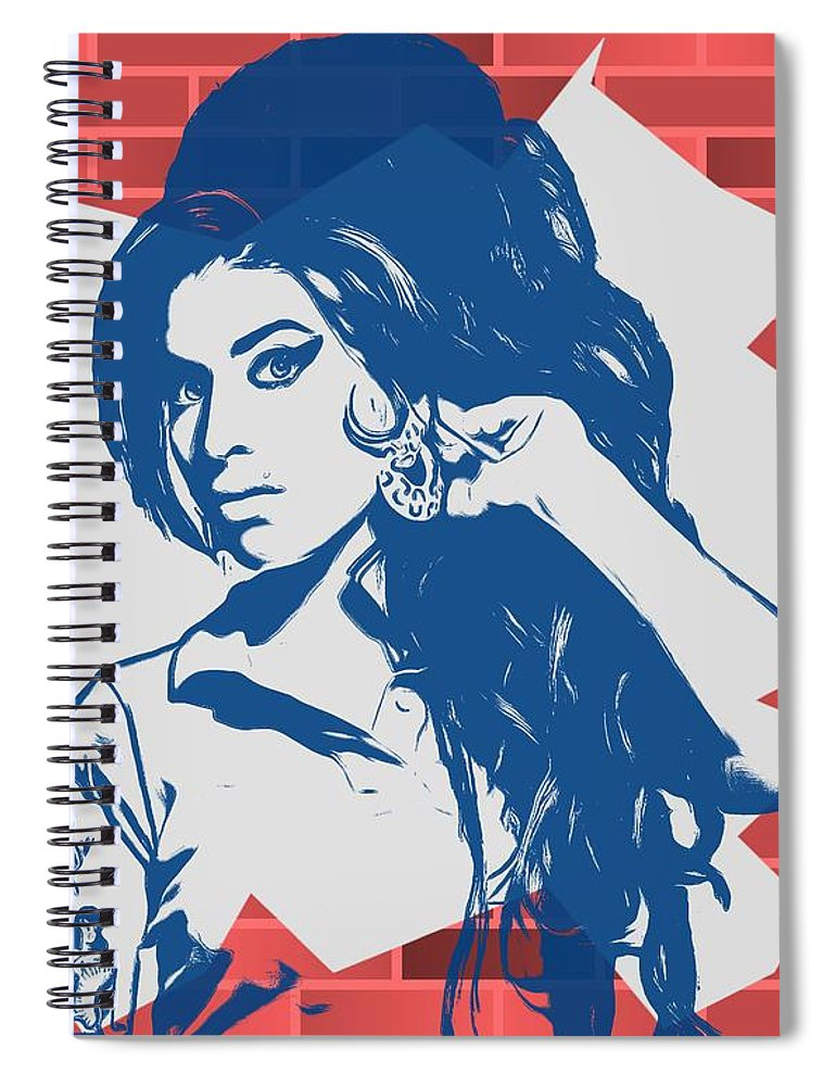 Amy Winehouse Graffiti Tribute Spiral Notebook featuring the digital art Amy Winehouse Graffiti Tribute by Dan Sproul