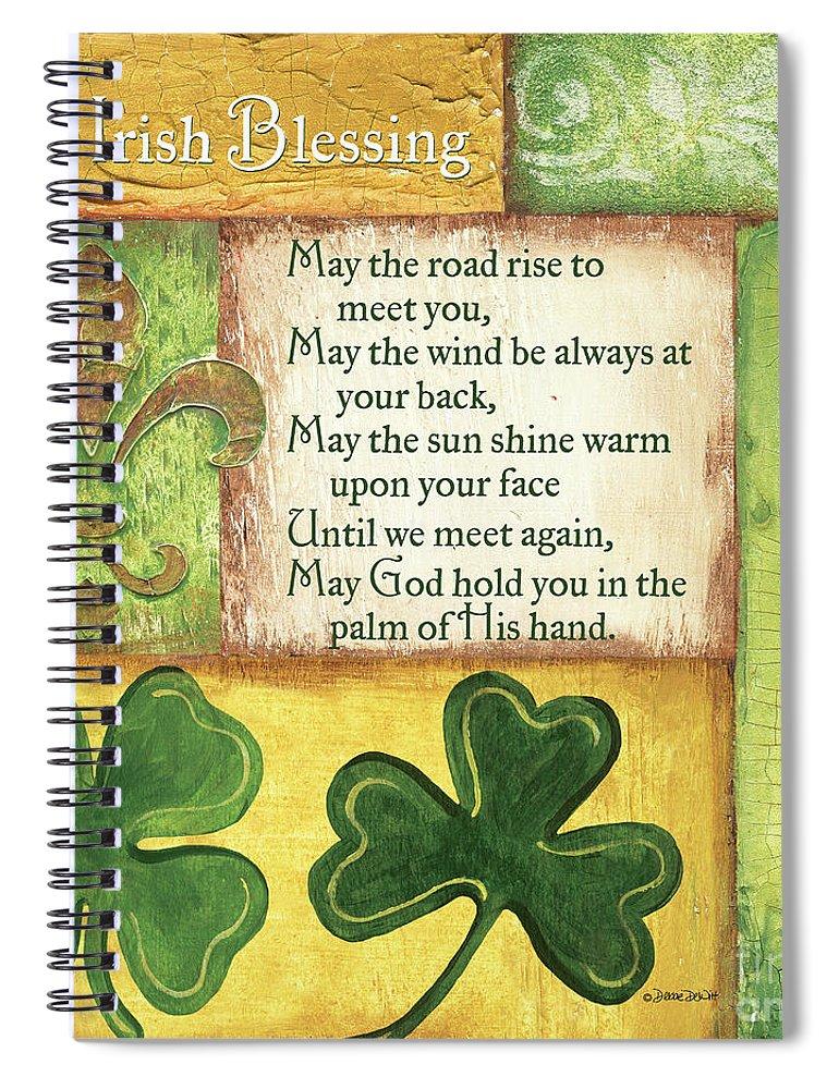 Irish Spiral Notebook featuring the painting An Irish Blessing by Debbie DeWitt