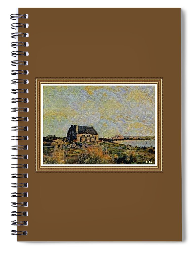 Amsterdam Spiral Notebook featuring the digital art An Old Scottish Cottage Overlooking A Loch L A S With Decorative Ornate Printed Frame. by Gert J Rheeders