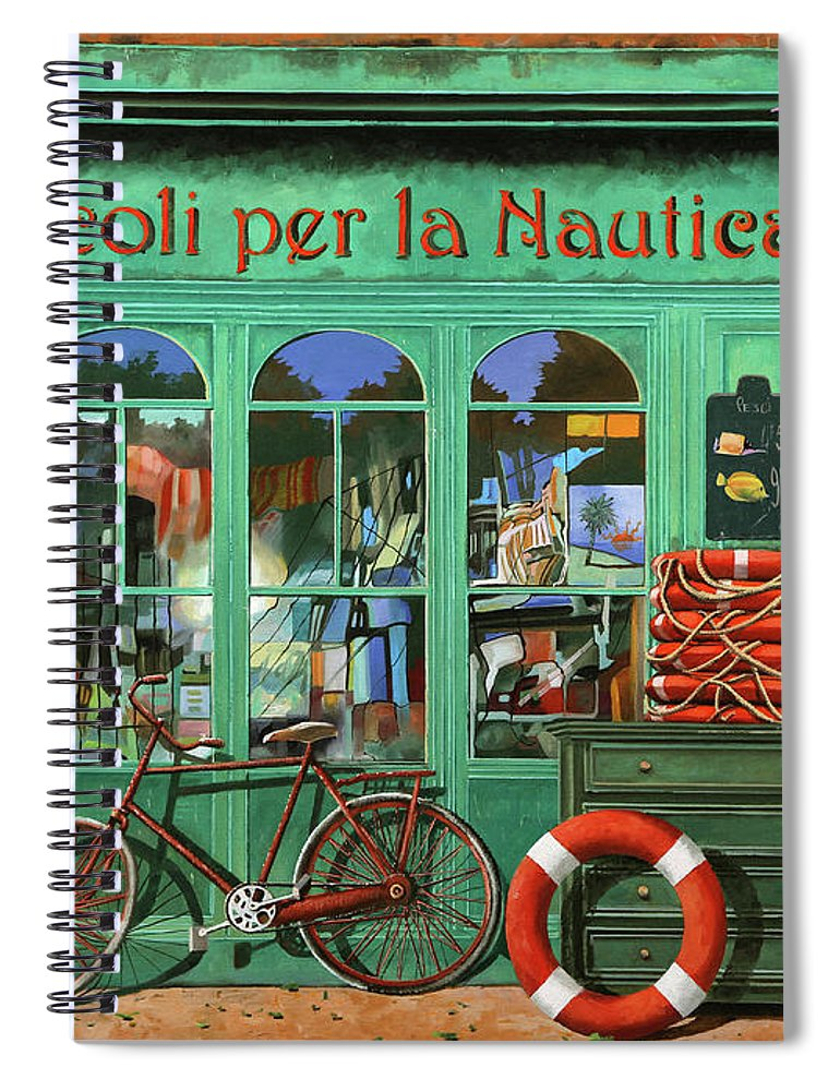 Bike Spiral Notebook featuring the painting Ancora Una Bicicletta Rossa by Guido Borelli