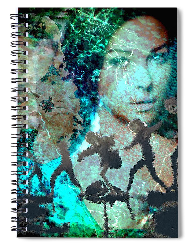 Childhood Spiral Notebook featuring the digital art And that Reminds Me by Seth Weaver