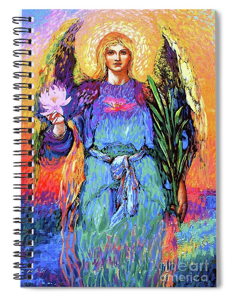 Love Spiral Notebook featuring the painting Angel Love by Jane Small