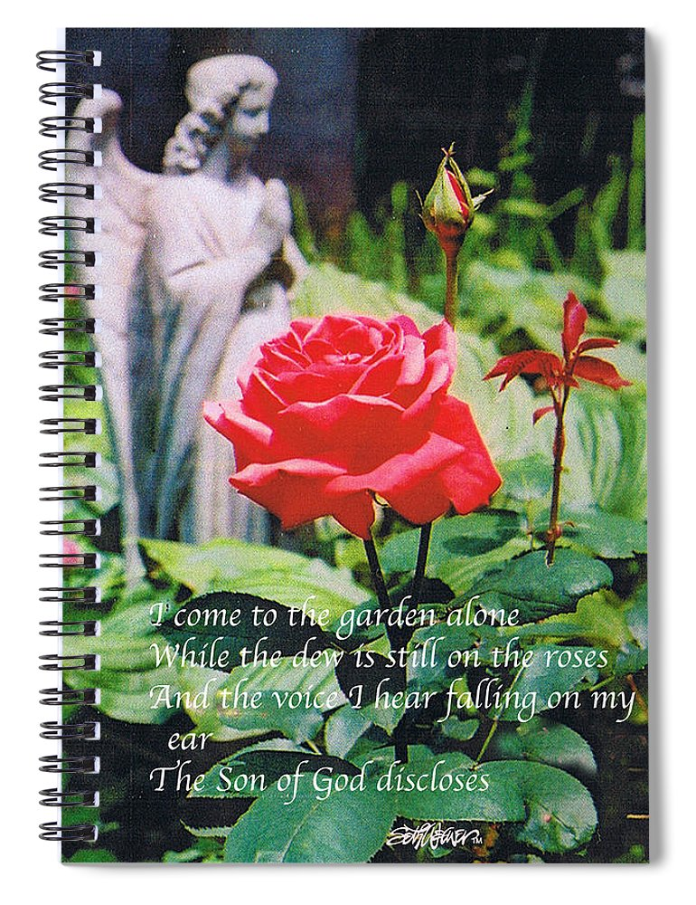 Angel Statute Spiral Notebook featuring the photograph Angel with Roses 2 by Seth Weaver