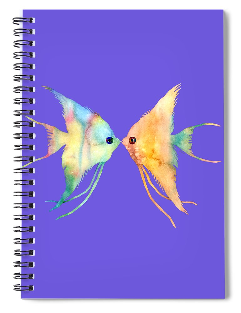 Fish Spiral Notebook featuring the painting Angelfish Kissing by Hailey E Herrera
