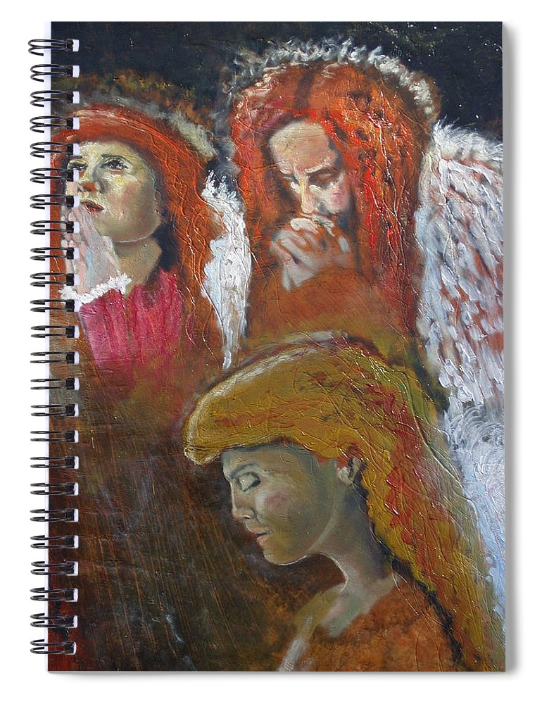 Angels Spiral Notebook featuring the painting Angels by J Bauer