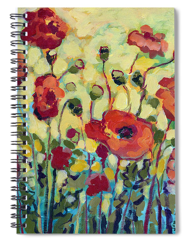 Poppy Spiral Notebook featuring the painting Anitas Poppies by Jennifer Lommers