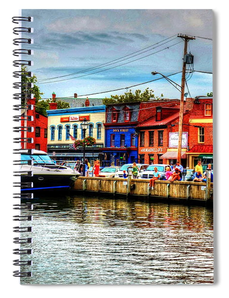 Annapolis Spiral Notebook featuring the photograph Annapolis City Docks by Debbi Granruth