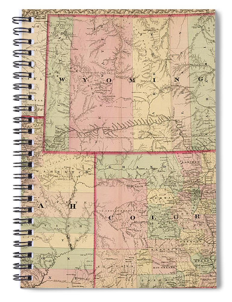 Antique Map - Colton\'s Wyoming Colorado And Utah 1876 Spiral Notebook