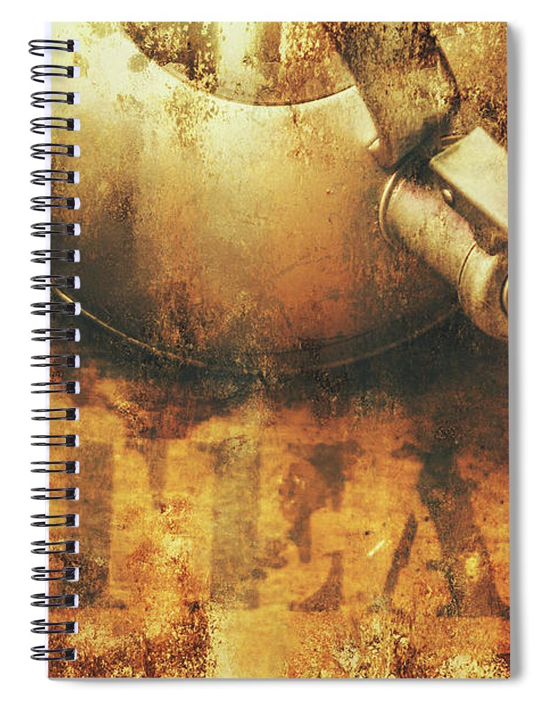 Old Spiral Notebook featuring the photograph Antique Old Tea Metal Sign. Rusted Drinks Artwork by Jorgo Photography - Wall Art Gallery