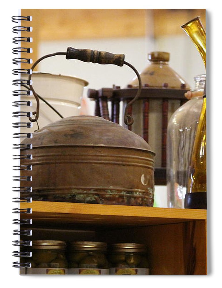 Antique Teakettle Spiral Notebook featuring the photograph Antique Teakettle And Amber Bottle by Colleen Cornelius