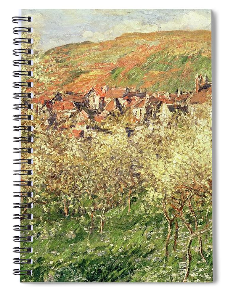 Monet Spiral Notebook featuring the painting Apple Trees In Blossom by Claude Monet