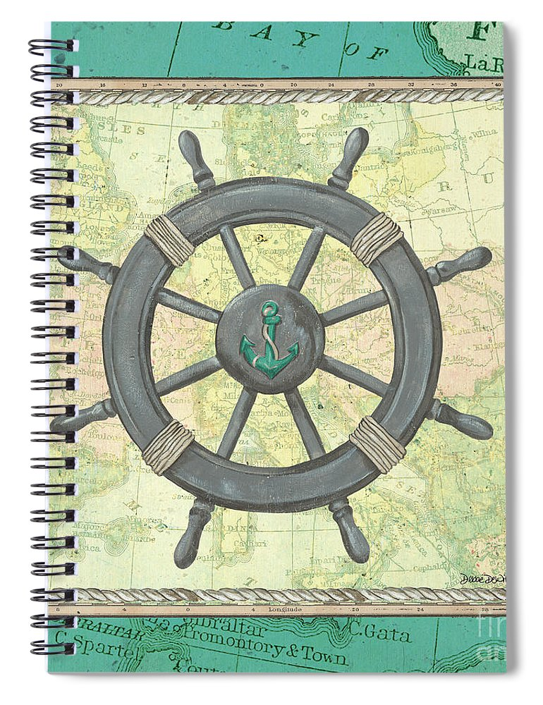 Ocean Spiral Notebook featuring the painting Aqua Maritime by Debbie DeWitt