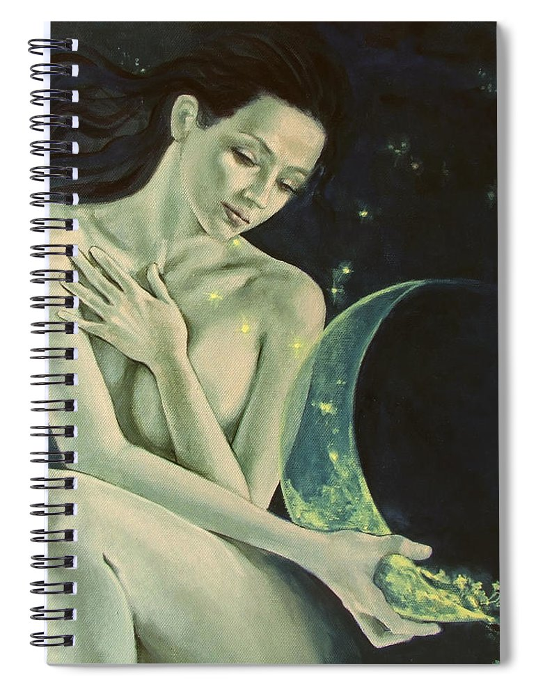 Art Spiral Notebook featuring the painting Aquarius From Zodiac Signs Series by Dorina Costras