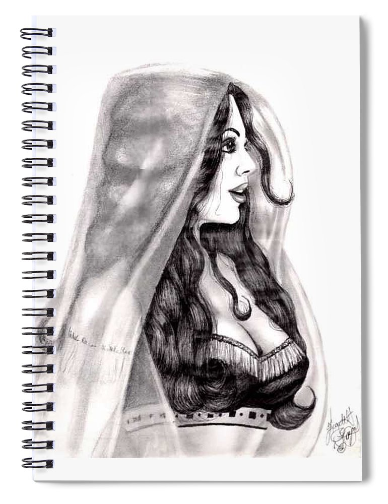 Figure Spiral Notebook featuring the drawing Arabian Beauty by Scarlett Royal