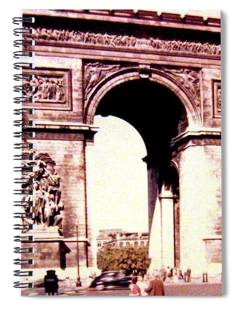 1955 Spiral Notebook featuring the photograph Arc De Triomphe 1955 by Will Borden