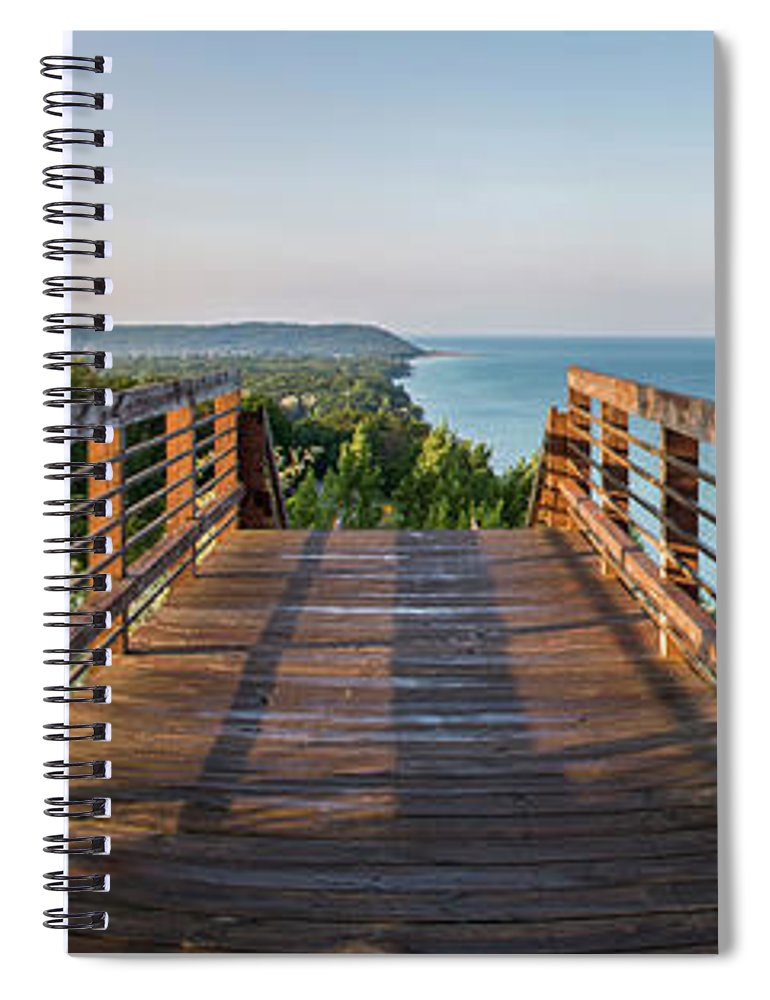Michigan Spiral Notebook featuring the photograph Arcadia Panorama In Morning by Twenty Two North Photography