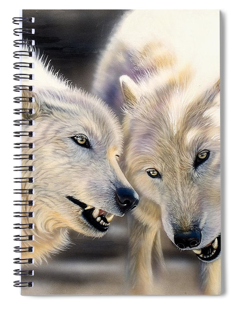 Acrylics Spiral Notebook featuring the painting Arctic Pair by Sandi Baker