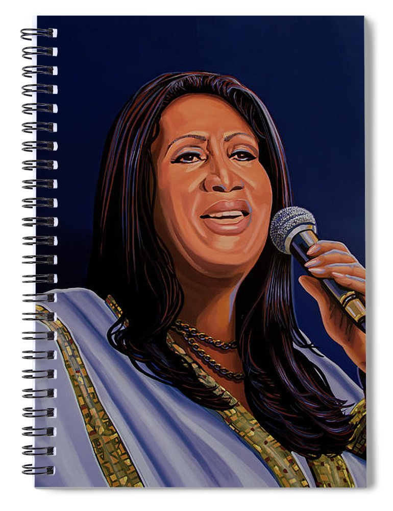 Aretha Franklin Spiral Notebook featuring the painting Aretha Franklin Painting by Paul Meijering