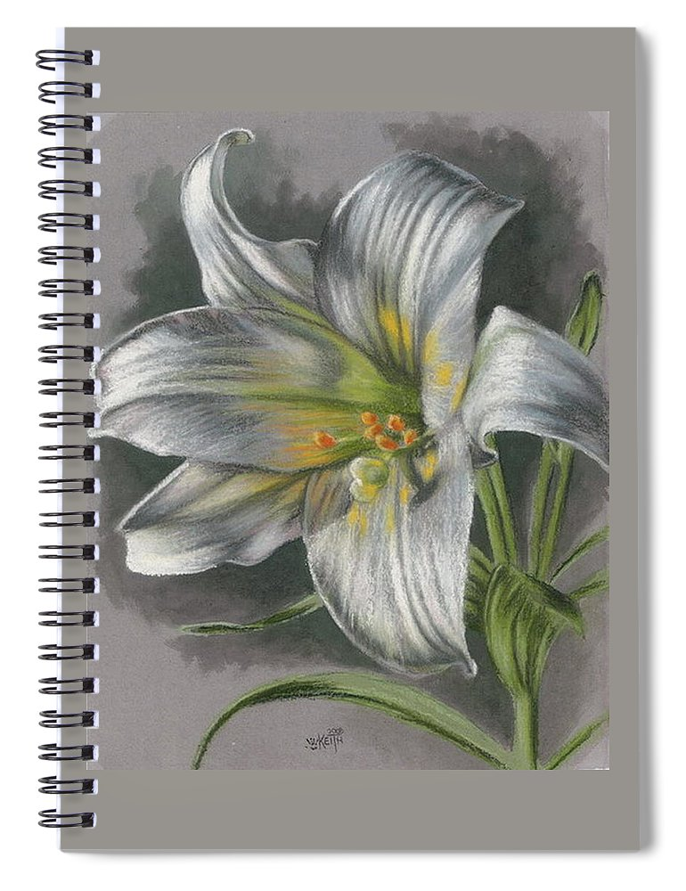 Easter Lily Spiral Notebook featuring the mixed media Arise by Barbara Keith