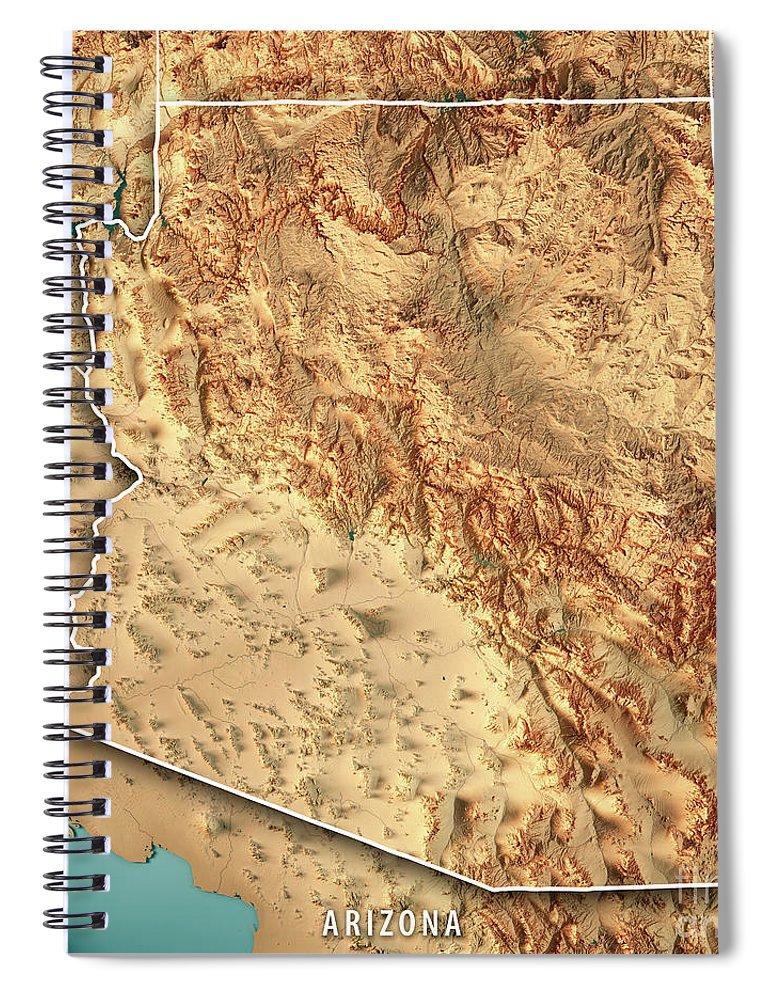 Topographic Map Arizona.Arizona State Usa 3d Render Topographic Map Border Spiral Notebook