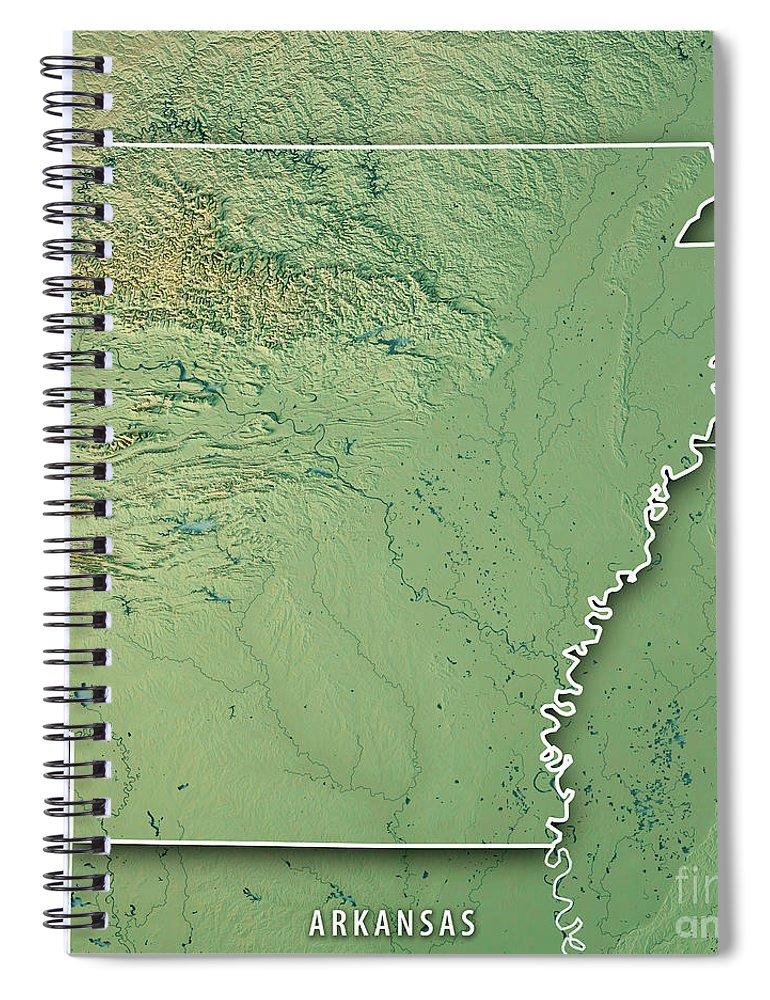 Arkansas State Usa 3d Render Topographic Map Border Spiral Notebook