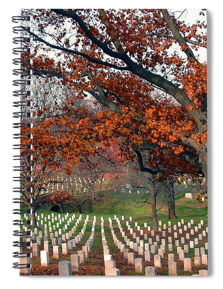 Veteran Spiral Notebook featuring the photograph Arlington Cemetery In Fall by Carolyn Marshall