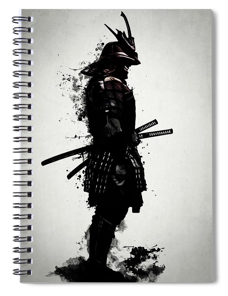 Samurai Spiral Notebook featuring the mixed media Armored Samurai by Nicklas Gustafsson
