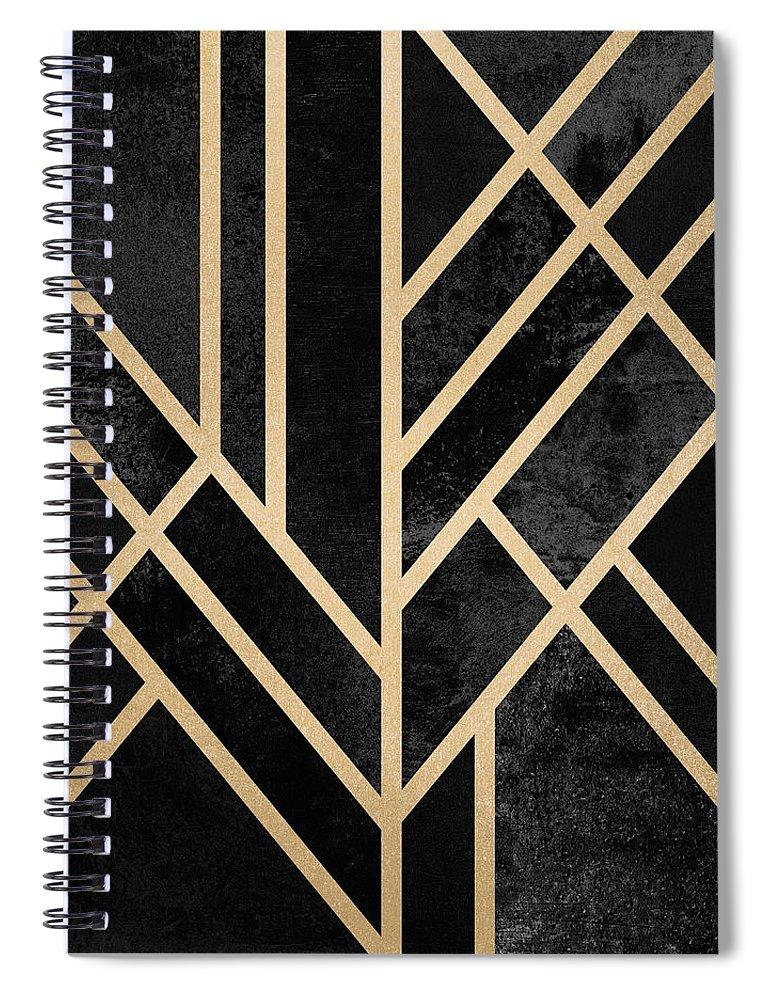 Digital Spiral Notebook featuring the digital art Art Deco Black by Elisabeth Fredriksson